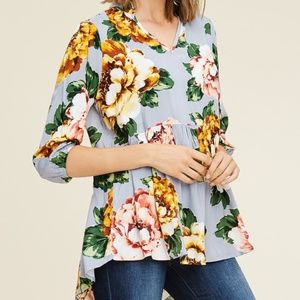NWT STACCATO FLORAL 3/4 SLEEVE PEPLUM BLOUSE